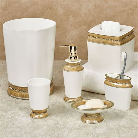 chic gold trim bath accessories
