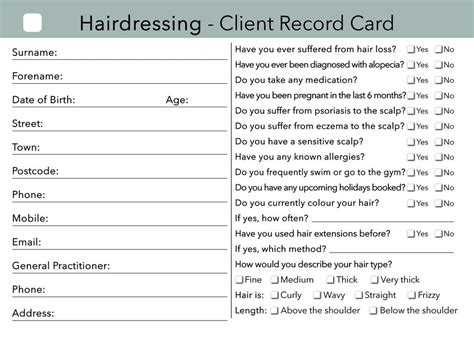 Client Card Template Hair Salon by Hairdressing Client Card Clients Record