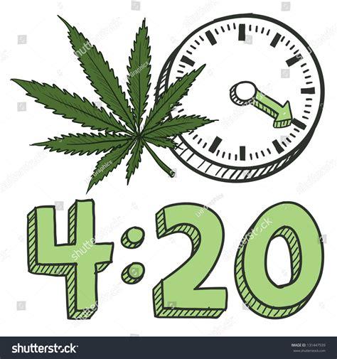 doodle reggae doodle style 420 marijuana leaf sketch stock vector
