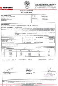 calibration certificate template inhouse onsite calibration services by tempsens