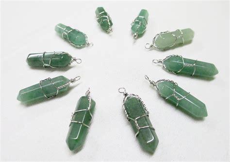 green aventurine pendants wire wrapped gemstones