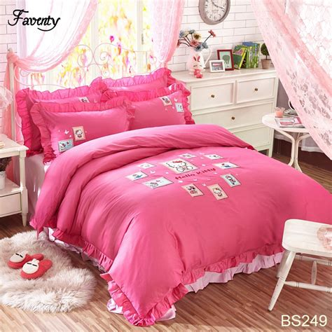 korean bedding duvet cover bed sheet king queen pink hello kitty girls