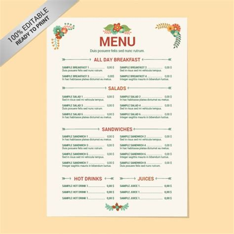 layout of a restaurant menu 8 menu layout templates free psd eps format download