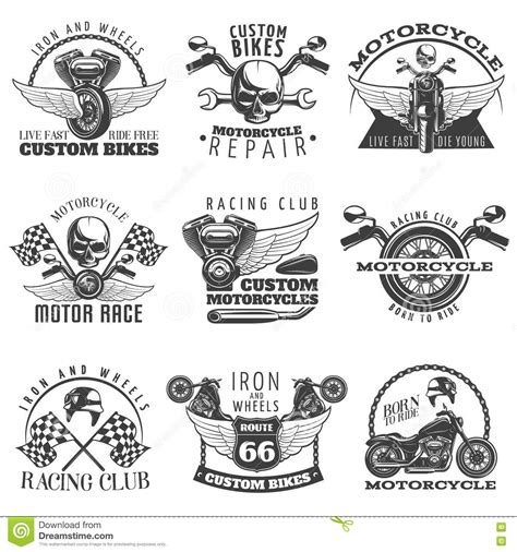 Motorradmarken Vorkrieg by Motorcycle Black Emblem Set Stock Vector Image 74297342