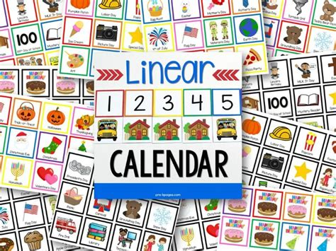 Pocket Chart Calendar Cards Printable linear calendar kit pre k pages