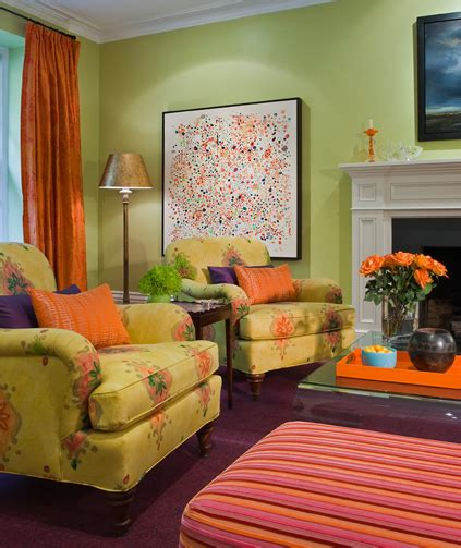 purple and green living room this green living room has orange and purple accents