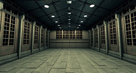 warehouse interior old industrial warehouse 3d model obj 3ds fbx c4d dxf