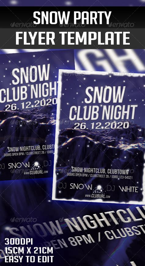 Snow Party Flyer Psd 187 Tinkytyler Org Stock Photos Graphics Snowy Flyer Template
