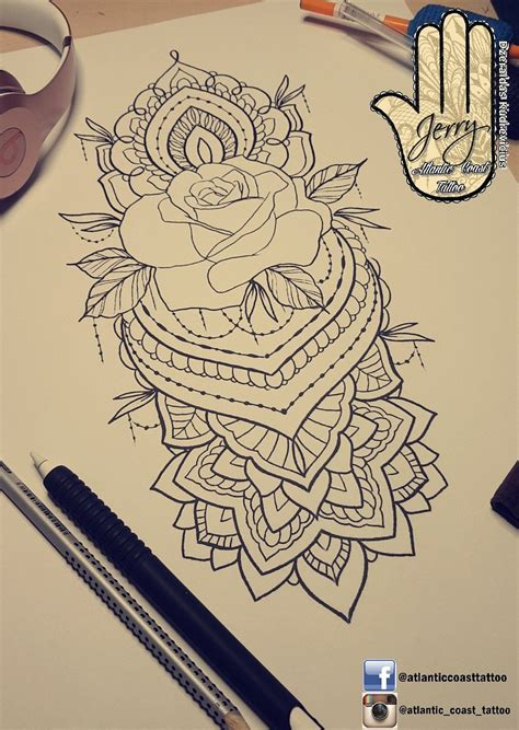 rose mandala tattoo beautiful idea design for a thigh arm by