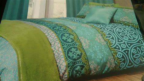 moroccan bedding teal blue lime green retro lattice double