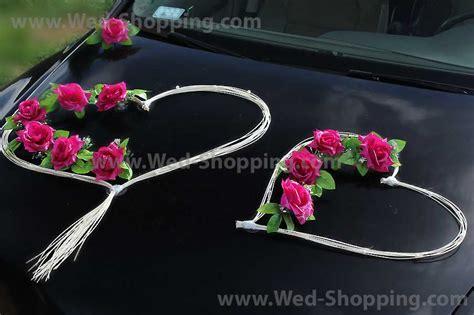 Wedding Car Decoration Kit Dark Pink Roses and Rattan Hearts