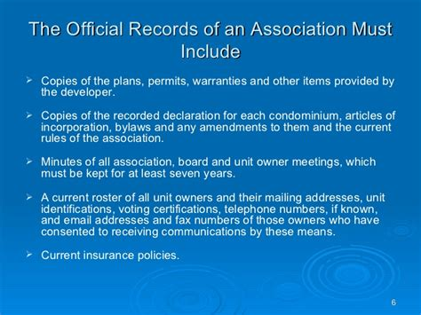 Official Search Official Records Of A Condominium Association
