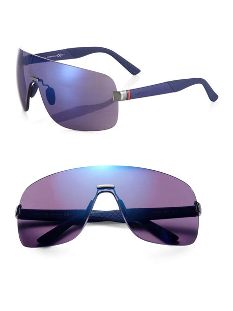 Gucci 2014 Blue lyst gucci metal shield sunglasses in blue for