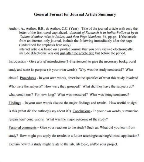 article summary template article summary sle 6 documents in pdf
