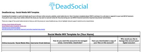 Deadsocial Prepare For Death Digitally Build Your Digital Legacy Writing Your Social Media Digital Will Template
