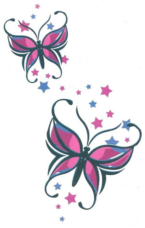 butterflies and stars tattoos designs butterfly sheet tat 4 50 x 7 big size brand new