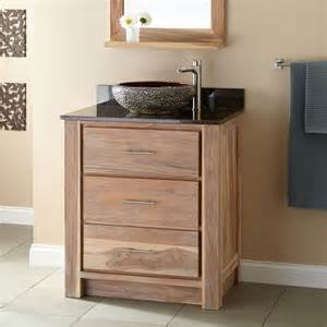 30 quot venica teak vessel sink vanity whitewash bathroom