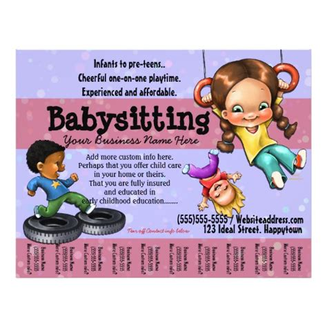 templates for daycare flyers babysitting day care customizable template flyers