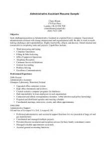 Sle Resume Objectives For Administrative Assistant by Resume Of Administrative Assistant