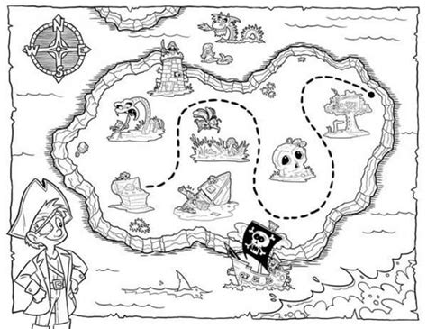 coloring page treasure map lets hunt the treasure map coloring page for kids
