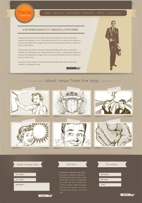 How To Create A Vintage Website Template In Photoshop Photoshop Tutorials Tutorial King Photoshop Web Design Templates