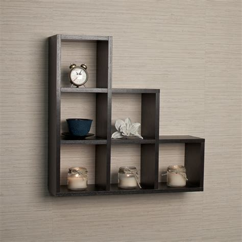 Black Decorative Wall Shelves Buy Stepped Six Cubby Decorative Black Wall Shelf By Danya B