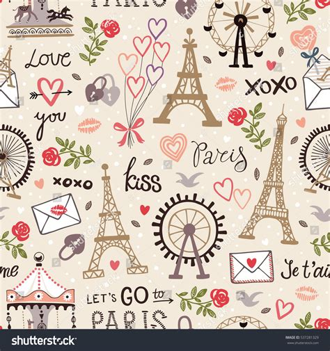 Pattern French Word | retro seamless pattern words letters roses stock vector