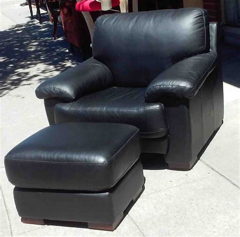 Black Leather Chair And Ottoman Uhuru Furniture