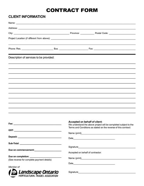 blank contract forms free templates resume exles