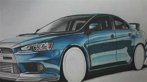 mitsubishi evo drawing mitsubishi evo drawing by autozeichner com