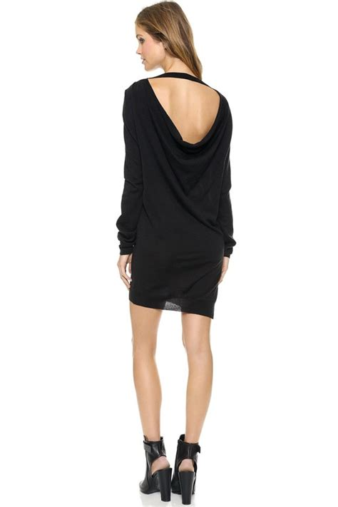 Slit Side Sweater Dress black draped back side slit sweater dress 015178