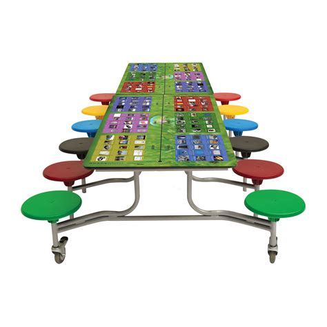 Folding School Dining Tables Rectangular Smart Top Table Seating Unit School Dining Furniture