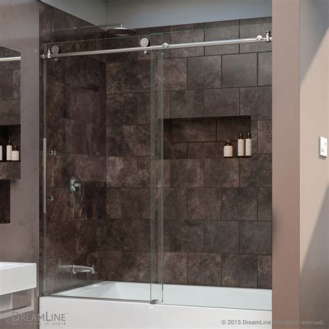 Bath Shower Glass Doors Dreamline Enigma X 56 To 59 In Frameless Sliding Tub Door Clear 3 8 In Glass Ebay