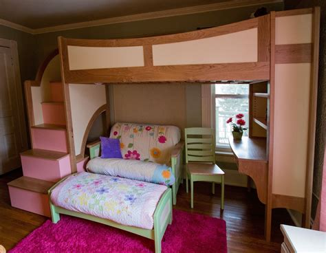 girl bunk beds with stairs handmade girl s twin loft bunk bed with stairs futon
