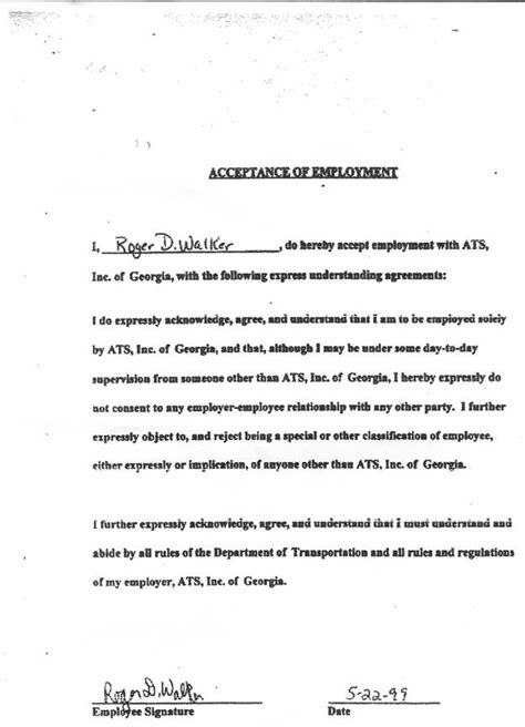 Acceptance Letter To Employer Letter Of Employment Acceptance Buy Original Essays Attractionsxpress