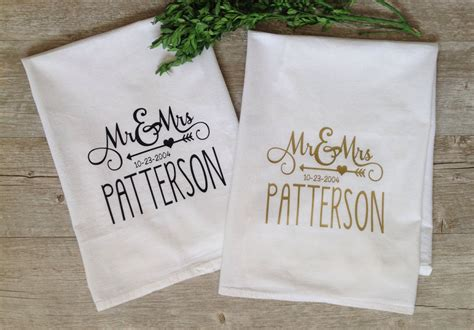 Shower Hostess Gifts by Personalized Tea Towel Custom Wedding Gift Housewarming Gift