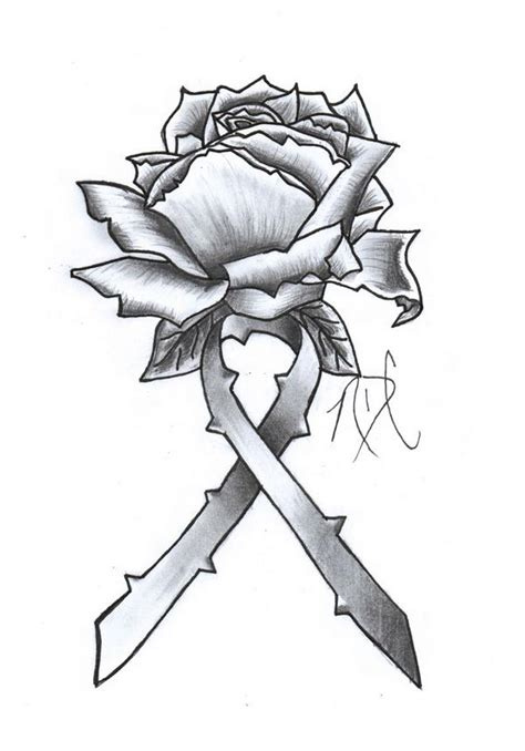 rose with ribbon tattoo designs cancer ribbon design by ndc13 on deviantart