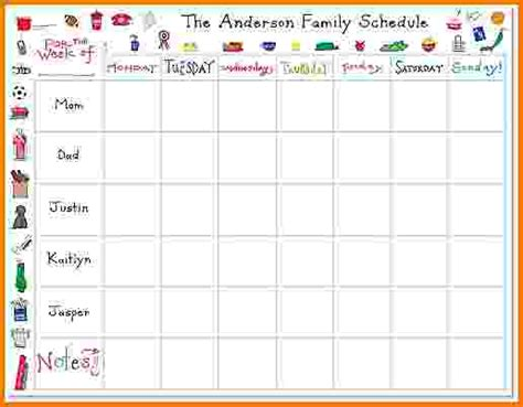 family calendar template weekly family schedule template calendar template 2016