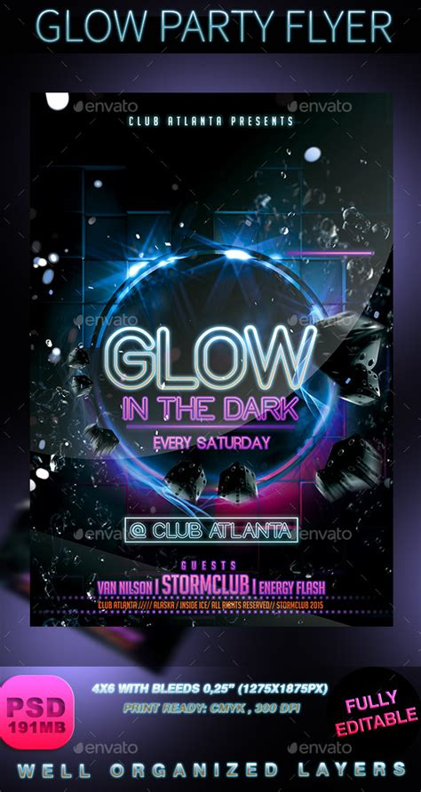 Neon Light Party Flyer Download Template Glow Party Flyer Stormclub Graphicriver Ideas Neon Flyer Template Free
