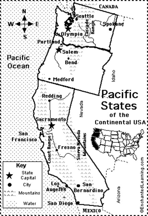 printable map rocky mountain states pacific states map quiz printout enchantedlearning com