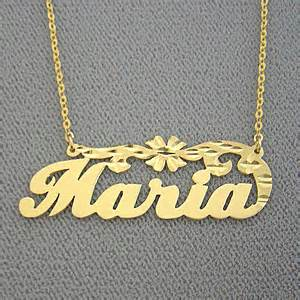 Name Plate Necklaces Gold Name Necklace Personalized Maria Gold Jewelry