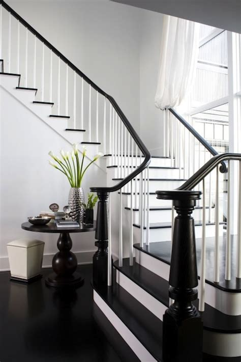 black banister white spindles black stair railing transitional entrance foyer lda