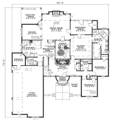 atrium floor plans volterra mediterranean home plan 055d 0786 house plans and more