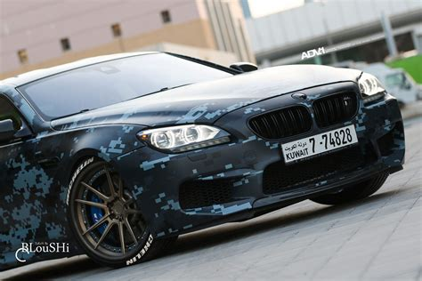 camo wrapped cars a digital blue camouflage wrapped bmw m6 gran coupe with