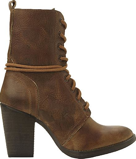 Jupiter Boots Brown steve madden jupiter heeled leather lace up boots in brown