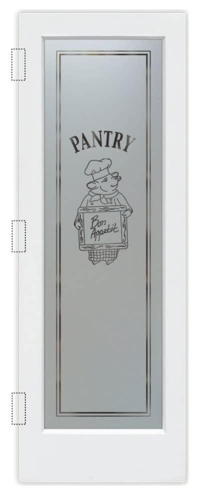 pantry door piggy chef negative frosted eclectic