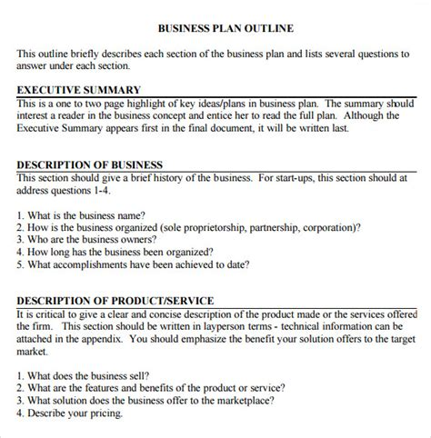 business plan basic format business plan outline template 10 download free