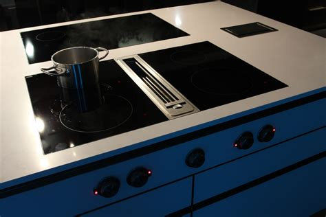 Induction Cooktop With Built In Downdraft event and live cooking kitchen for tv and showroom