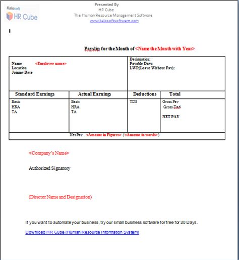 41 Excellent Salary Slip Payslip Template Examples : Thogati