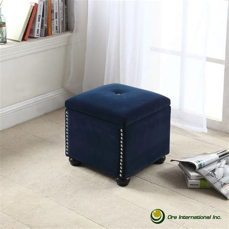 Southern Enterprises Nathan Brown Accent Foot Stool Navy Blue Storage Ottoman